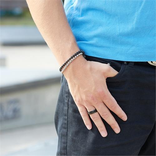 Ring Edelstahl geschwärzt 7mm Gravur möglich