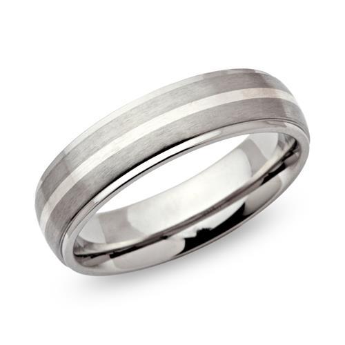 Exklusiver Edelstahlring rund Silbereinlage 6mm