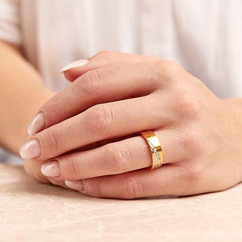 Edelstahlring teilvergoldet 6mm Zirkonia