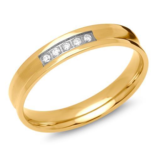 Damenring Edelstahl vergoldet 4mm Steinbesatz