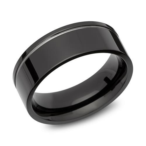 Ring Edelstahl Glanzrille schwarz 8mm breit