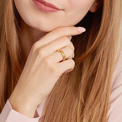 Stylish Partner Rings Made Of Gold-Plated Stainless Steel