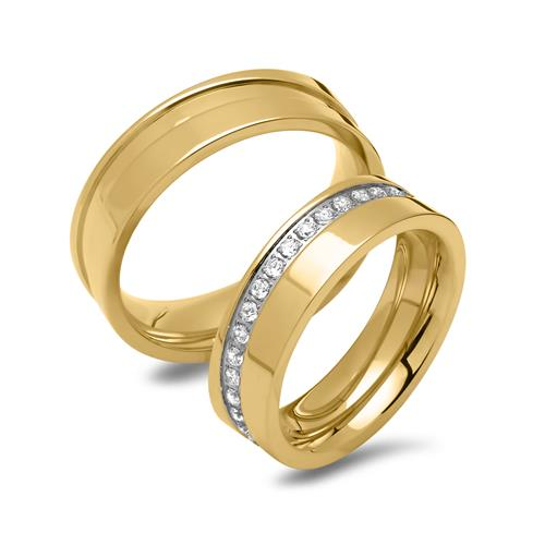 Vergoldetes Edelstahl Ehering-Set mit Steinen