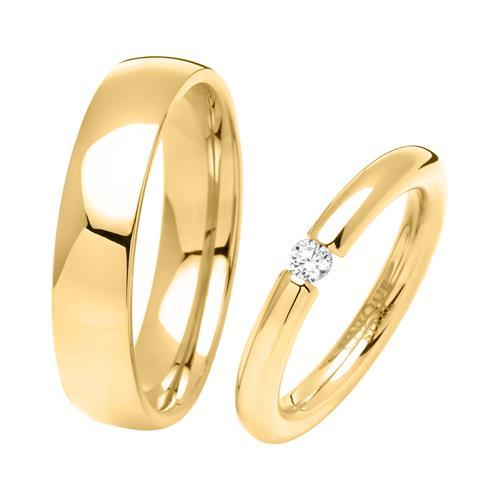 Gelbvergoldete Eheringe aus Edelstahl mit Stein