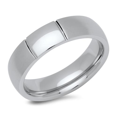 Teilpolierter Ring Edelstahl 6 mm breit