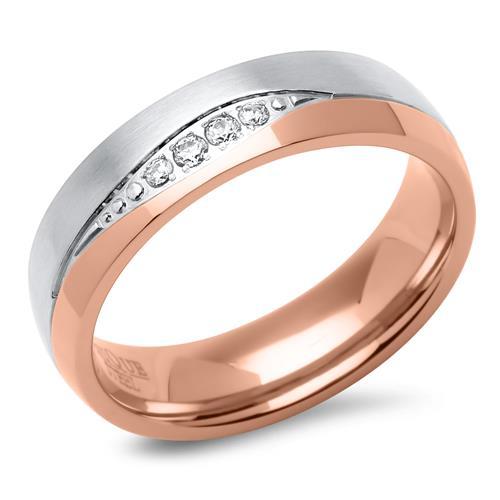 Edelstahl-Trauringe rosévergoldet teilpoliert