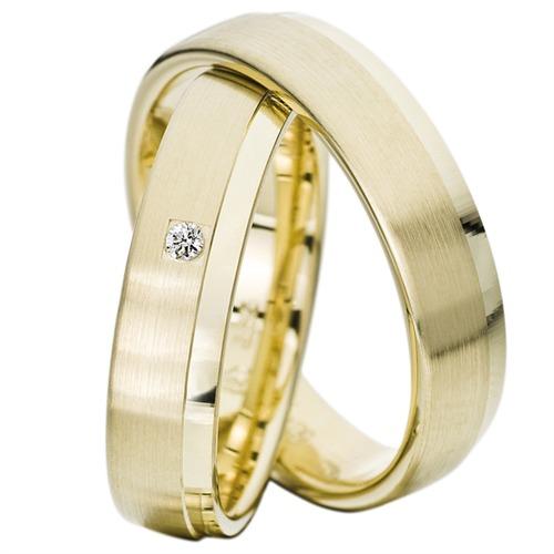 Eheringe gold matt gebürstet  Rauschmayer Trauringe Gelbgold 5mm 05492