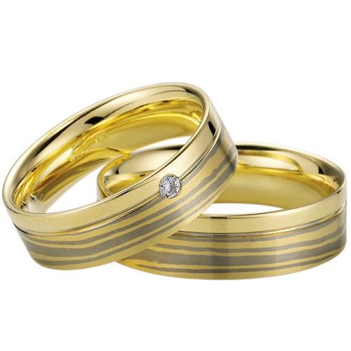 Trauringe Gelb- und Weißgold 6mm