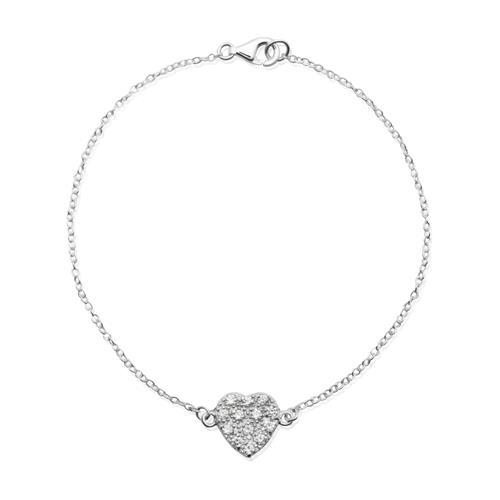 925 Silberarmband mit Herzanhänger Zirkonia SB0125