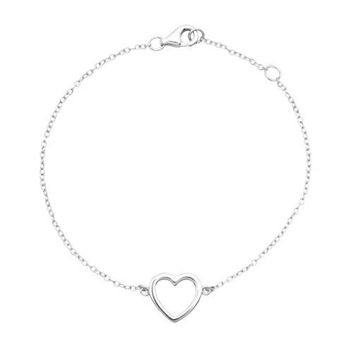 Poliertes 925 Silberarmband mit Herzanhänger