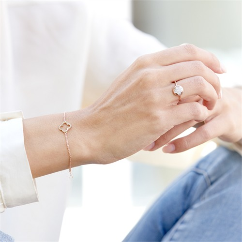 Rosé-vergoldetes 925 Silberarmband mit Anhänger