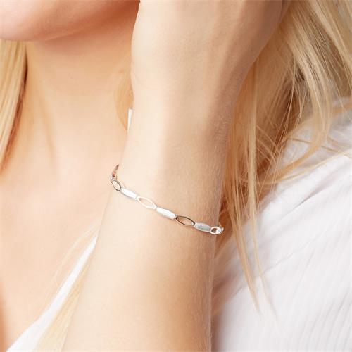 Modernes Armband 925 Silber glänzend matt