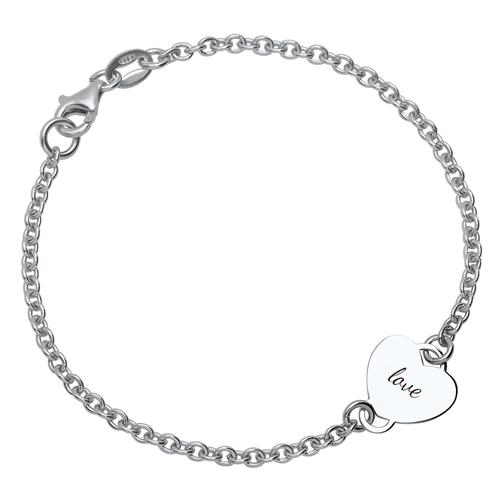 925 Silberarmband poliertes Herzelement