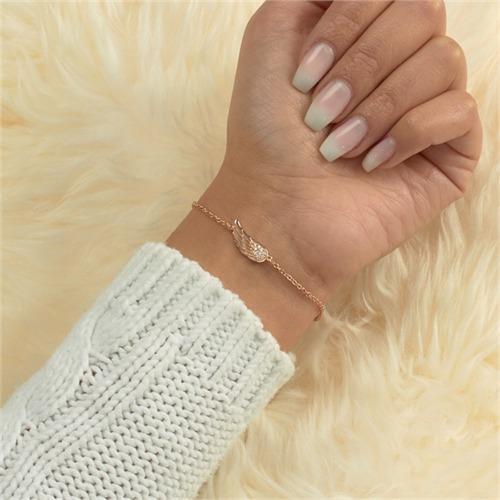 925er Silberarmband rosévergoldet Engelsflügel