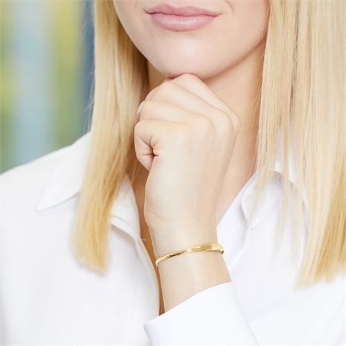 Asymmetrischer Armreif 925er Silber gold
