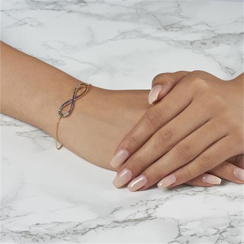 Infinity Armband vergoldet bunte Steine
