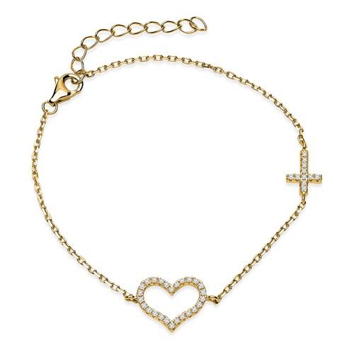 Vergoldetes silber Armband mit Herzen