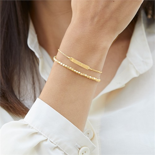 Armband vergoldetem Silber mit eckigen Beads