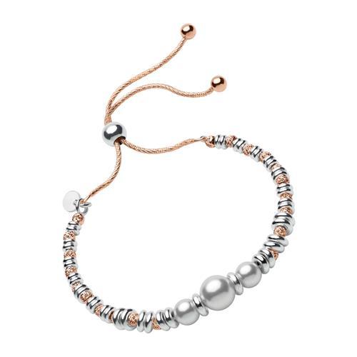 Armband aus rosévergoldetem Silber mit Perlen