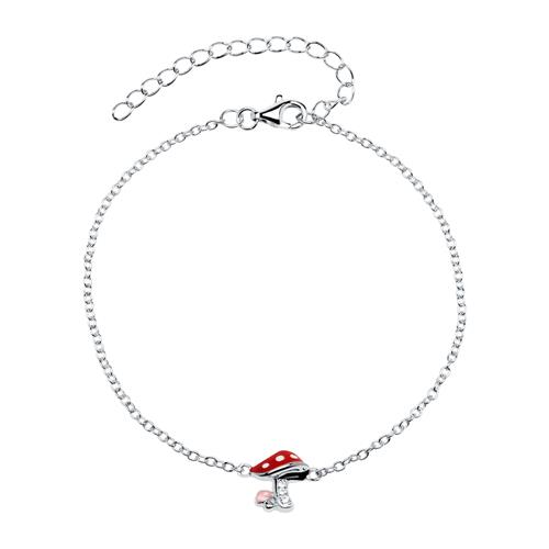 Armband mit Fliegenpilz 925er Silber Zirkonia