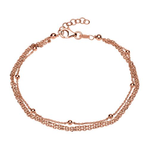 Silberarmband rosévergoldet mit Karabinerversch...