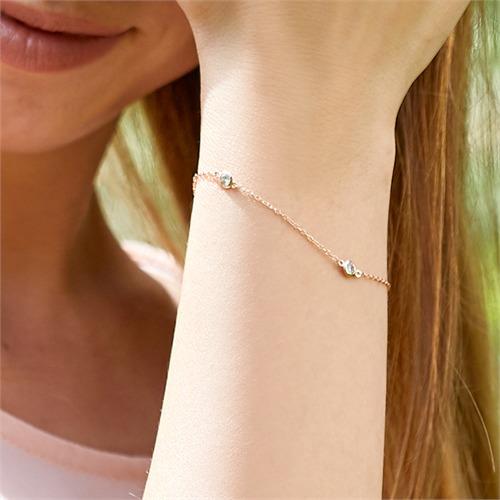 Damenarmband 925er Silber rosévergoldet mit Zirkonia