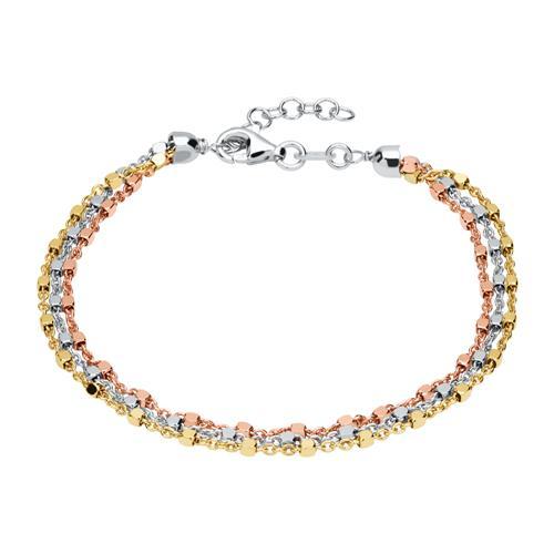 Armband 925er Silber vergoldet Tricolor