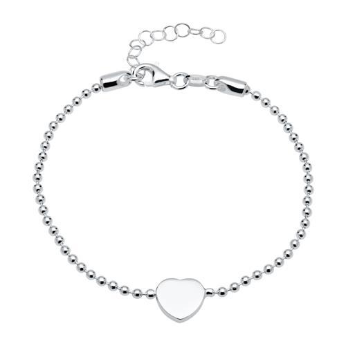 Armband aus 925er Silber mit gravierbarem Herzanhänger