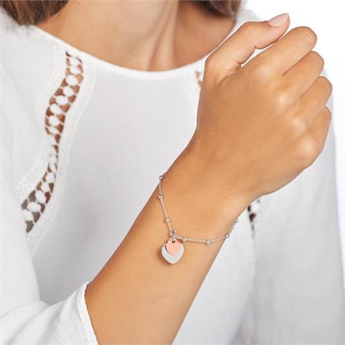 Armband aus 925er Silber mit zwei Herzen gravierbar