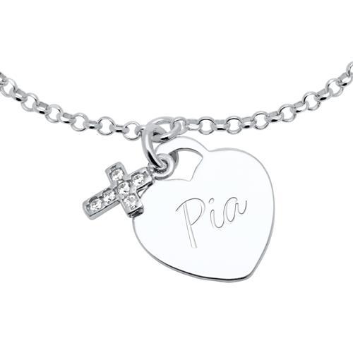 925er Silber Gravurarmband Herz und Kreuz mit Zirkonia