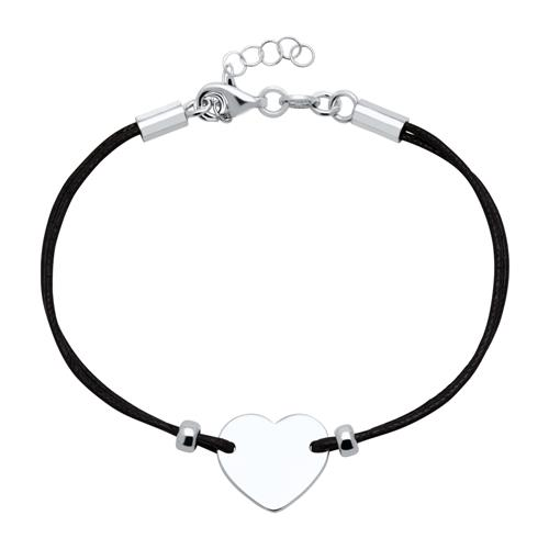 Armbaender für Frauen - Schwarzes Textilarmband 925er Silber Herz gravierbar  - Onlineshop The Jeweller