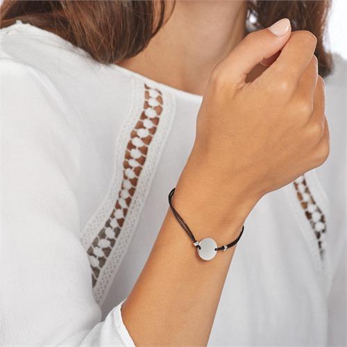 Schwarzes Textilarmband Kreis 925er Silber gravierbar