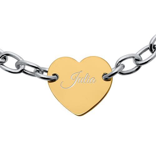 Gravur Herzarmband aus Sterlingsilber bicolor