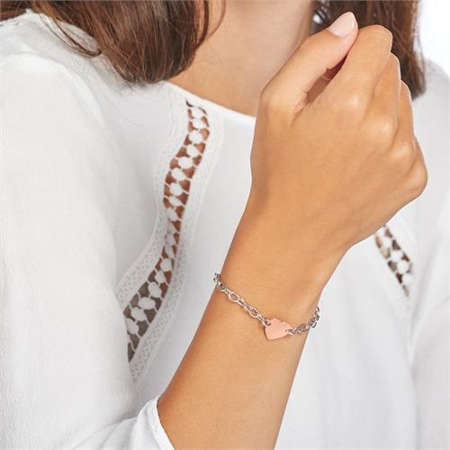 925er Silber Armband mit Herz rosévergoldet gravierbar