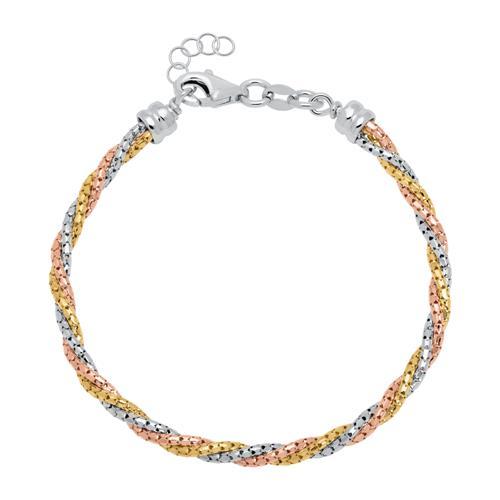 Armband aus 925er Silber tricolor