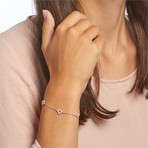 Florales 925er Silber Armband mit Zirkonia