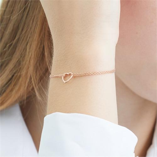 Armband Herz aus rosévergoldetem Sterlingsilber