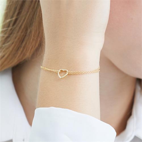 Vergoldetes 925er Silber Armband Herz