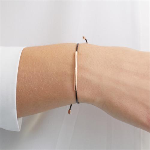 Armband Textil schwarz 925er Silber rosévergoldet