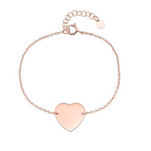 Armbaender für Frauen - Armband Herz aus 925er Silber rosévergoldet gravierbar  - Onlineshop The Jeweller