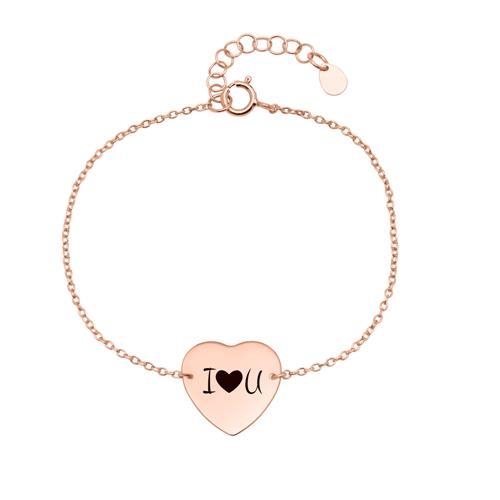 Armband Herz aus 925er Silber rosévergoldet gravierbar