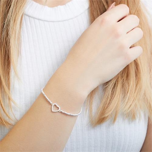 925er Silber Kugelarmband mit Herz Zirkonia