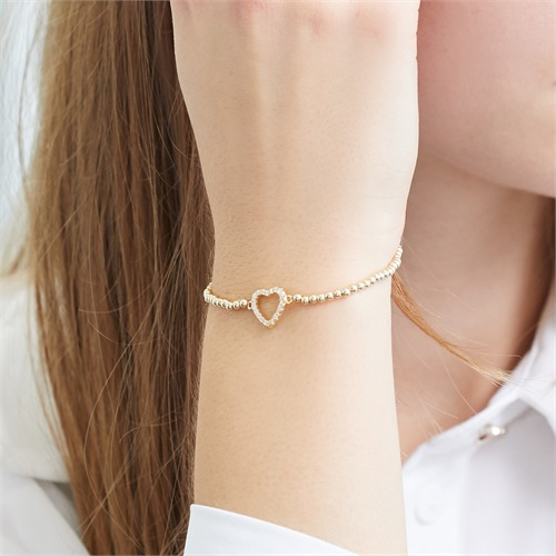 Ball Bracelet Made Of Gold-Plated 925 Silver Heart Zirconia