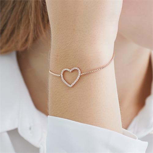 Herzarmband aus rosévergoldetem 925er Silber Zirkonia