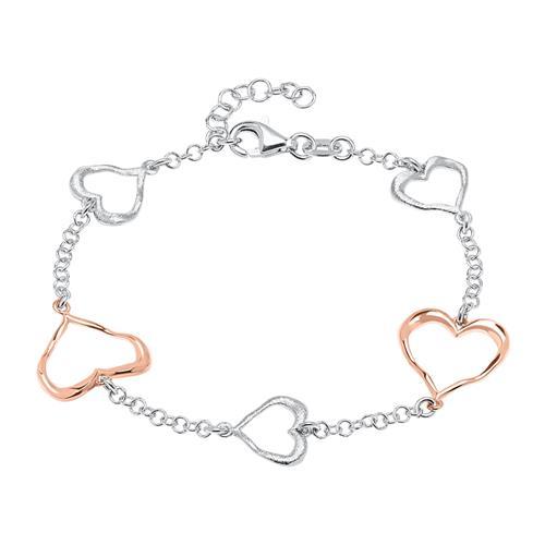 Sterlingsilber Armband Herzen rosévergoldet