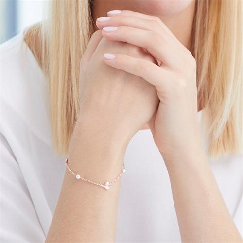 Rosévergoldetes 925er Silber Armband Herzen und Perlen