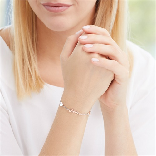 Love Armband aus Sterlingsilber mit Herzen