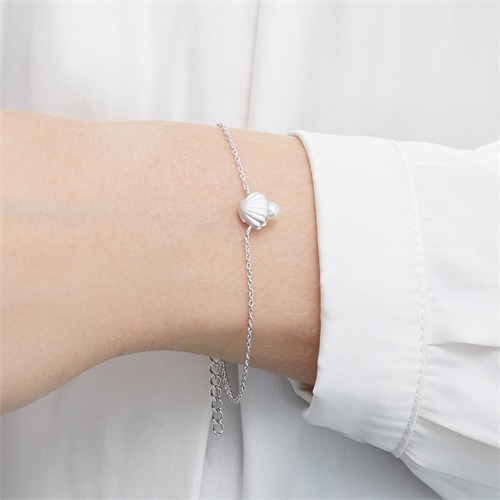 Armband Muschel aus 925er Silber mit Perle