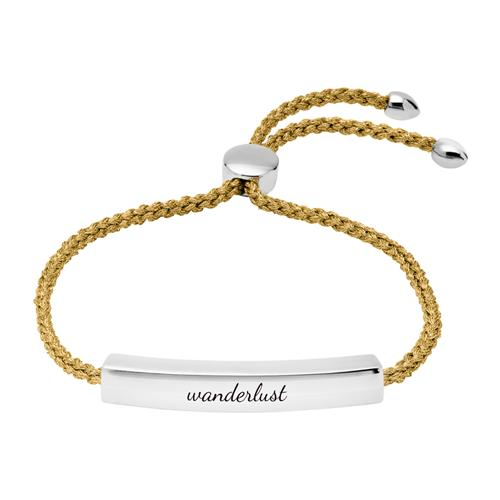 Gravur Armband aus 925er Silber Gold metallic-Band
