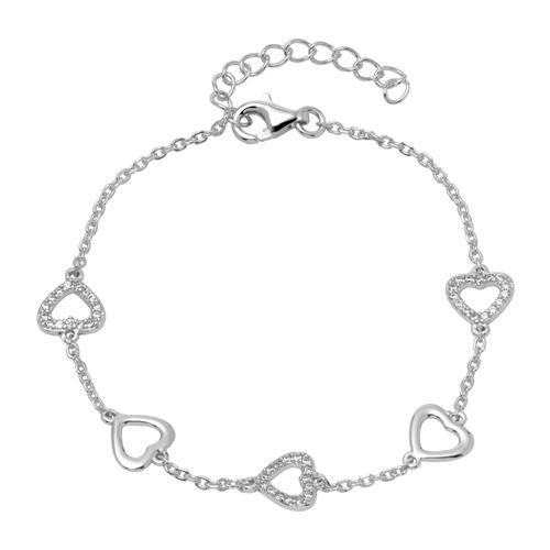 Herzarmband aus 925er Silber mit Zirkonia